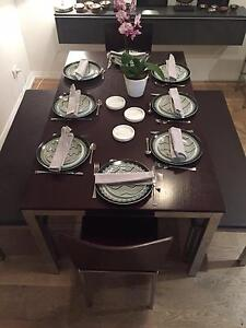 Freedom timber&stainless steel Dining table, 2 bench, 2 chairs Chatswood Willoughby Area Preview