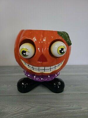 Large Bobble Eyed Candy Bowl Dish Trick Or Treat Halloween Ceramic Big Head Jack