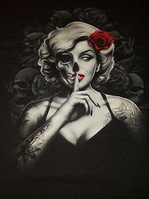 Zombie skull and Roses mens  t shirt short sleeve pin up girl halloween  horror](Girl Zombie Halloween)