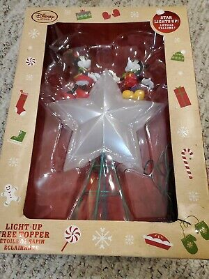 New Disney Store MICKEY MINNIE Mouse Christmas Holiday Tree Topper Light Up Star
