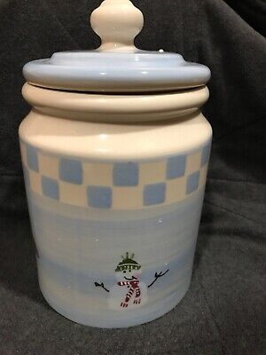 Hartstone SNOW PEOPLE 3Qt Canister Cookie Jar Vintage 1983 Crate And Barrel Blue
