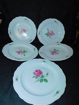 """5 ANTIQUE MEISSEN PINK ROSES PORCELAIN LUNCHEON dessert PLATES 8 3/8"""" handpaint"""