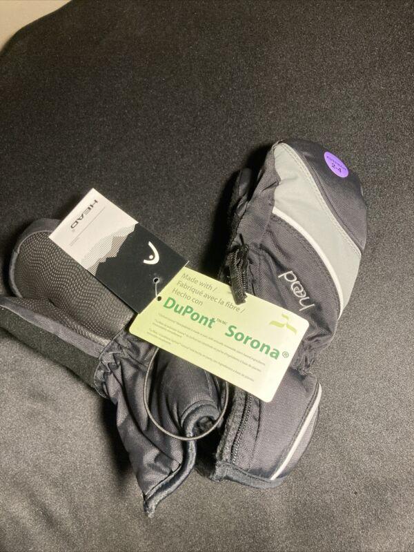 Head Jr. Ski Mittens Child Size Black/Grey XS 2-4 with Dupont Sorona w zipper
