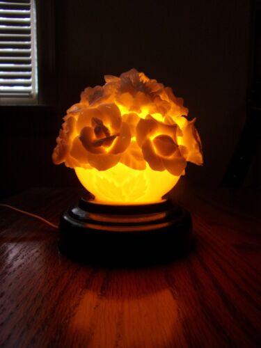 Vintage I. W. Rice Co Porcelain Lamp Night Light Flowers Made in Japan