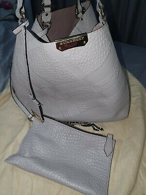 Burberry Canterbury Grained embossed Pale  Grey Tote bag. Gold hardware