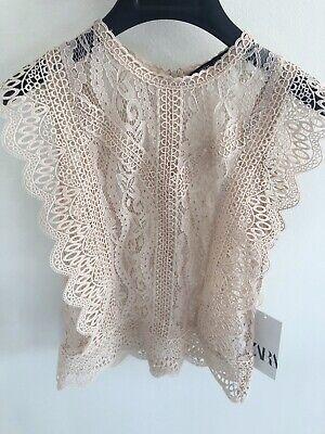 ZARA Woman's Lace Blush  Blouse Size XS