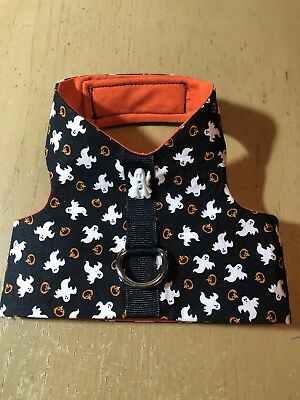 Halloween Ghost Black Orange Handmade Dog Harness Vest Costume XXS 2131