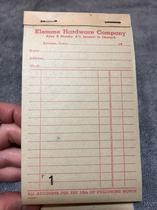 NOS Klemme Hardware Company Vintage Reciept Book Klemme IA