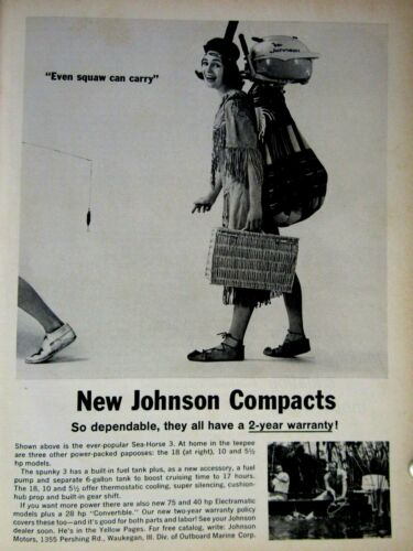 """1963 Johnson Compacts Even Squaw Can Carry Original Regional Print Ad 8.5 x 11"""""""