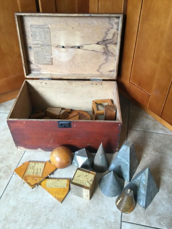 Antique Ross Mensuration Geometrical Teaching Block Set, Original Crate 1900