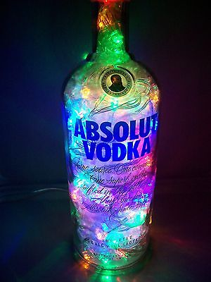ABSOLUT Vodka Liquor Bottle Light w/ 100 Multi Color Motion LEDs Bar Decor Gift