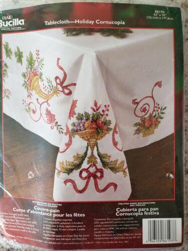 Bucilla Tablecloth Holiday Cornucopia Stamped Cross Stitch 8