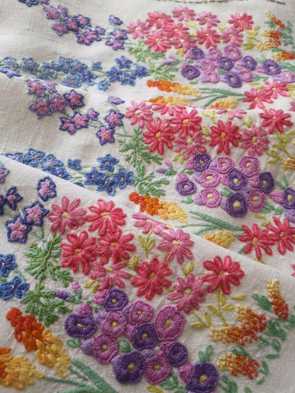Vintage hand embroidered Irish linen tablecloth -  English garden lupins florals