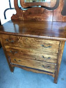 Antique Three Drawer Dresser with Mirror