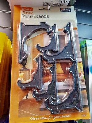 6pc Assorted Plates Stands Set Kitchen Home Bowls Display Cabinet Support Holder