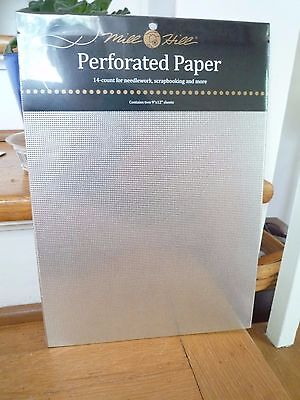 Mill Hill Perforated Paper 14 Count  2 sheets 9 X 12 - Silver 14 Count Perforated Paper
