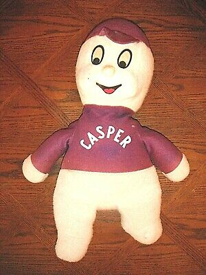 Casper Vintage Plush Stuffed Toy Doll Rare Baseball Cap Large Harvey Halloween