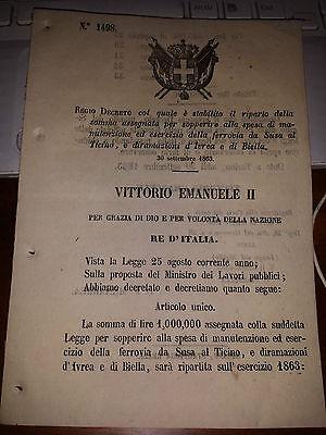 REGIO DECRETO SPESE MANUT FERROVIA da SUSA al TICINO e diramazione IVREA  BIELLA