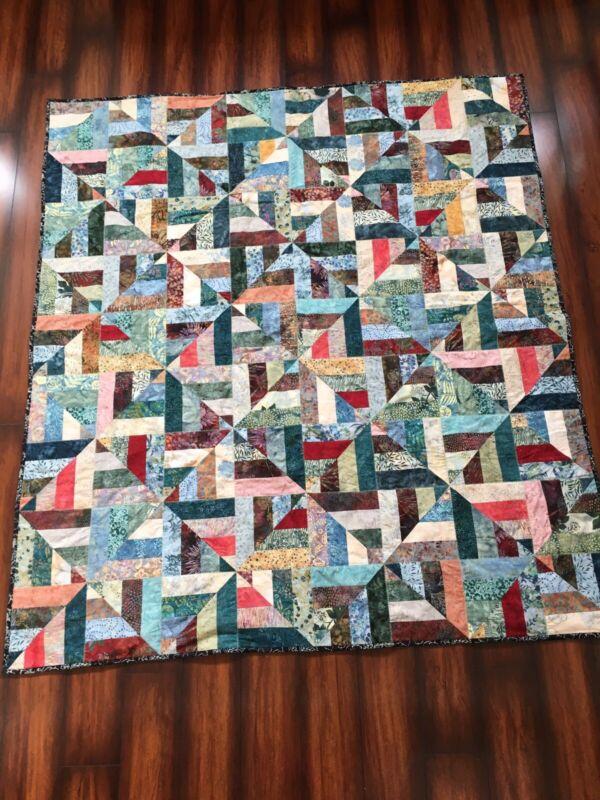 "Handmade batik throw quilt 61"" x 69"" Hoffman bali pops"