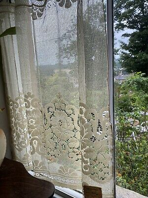 "Antique Ecru Arts & Crafts Scottish lace panel sample deadstock 36""/36"""