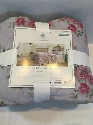 Solely Shabby Chic Full / Queen Quilt - Lavender Purple w/ Floral Pattern - NEW