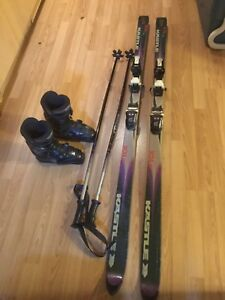 Skis, poles and boots for sale