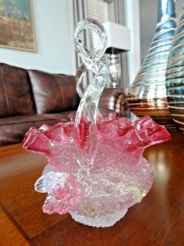 HARRACH / KRALIK Antique GLASS OVERSHOT APPLIED FLOWERS Vaseline BASKET Pink
