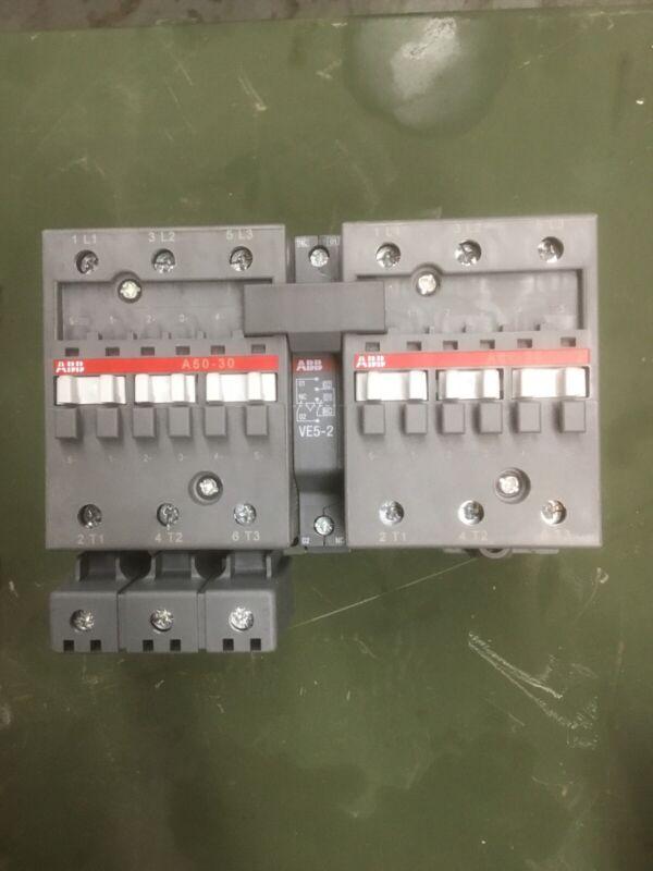 ABB CONTACTOR Set A50-30 600V 50HP 3 POLE 110volt Control Voltage W/arc Suppress