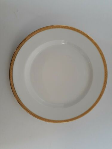ANTIQUE VIGNAUD LIMOGES FRANCE NANTES PATTERN GOLD RIM DINNER PLATES SET/8 MINT!