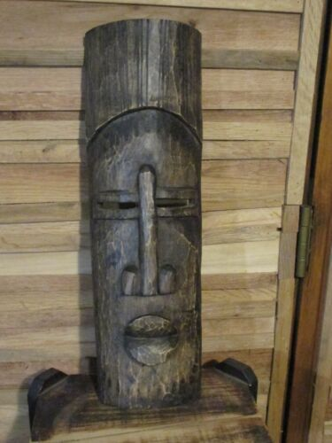 Vintage Wood Mask Hand Carved Wood Tiki Wall Tribal