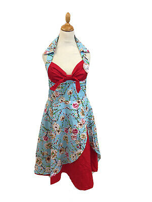 Quirky Bird Vintage Retro Pin Up Floral Sweetheart Dress Size 12 - 14 Indie Desi