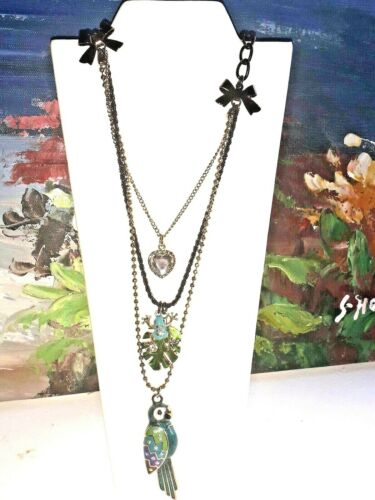 "Betsy Johnson Enamel Parrot, Frog, Heart, Ribbon Charm 3 Chain  Necklace 24"""