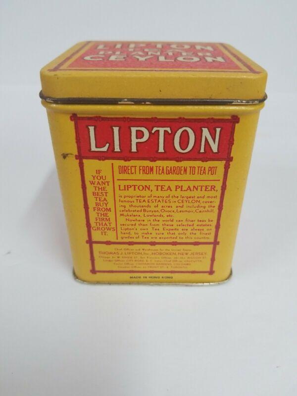 Vintage Lipton Tea Planter Ceylon Collectible Yellow/Red Tin Bristol Ware