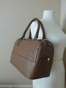NWT FURLA Oak Brown Napa Leather Laila Bauletto/Satchel Bag $428