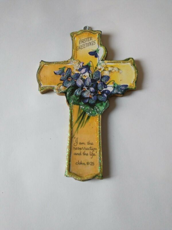 Easter Glitter Wood Ornament Yellow Easter Cross with Violets