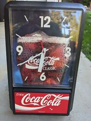 70's Promo Wall Clock Coke COCA Cola VINAGE Wood Grain Advertising Sign CLASSIC