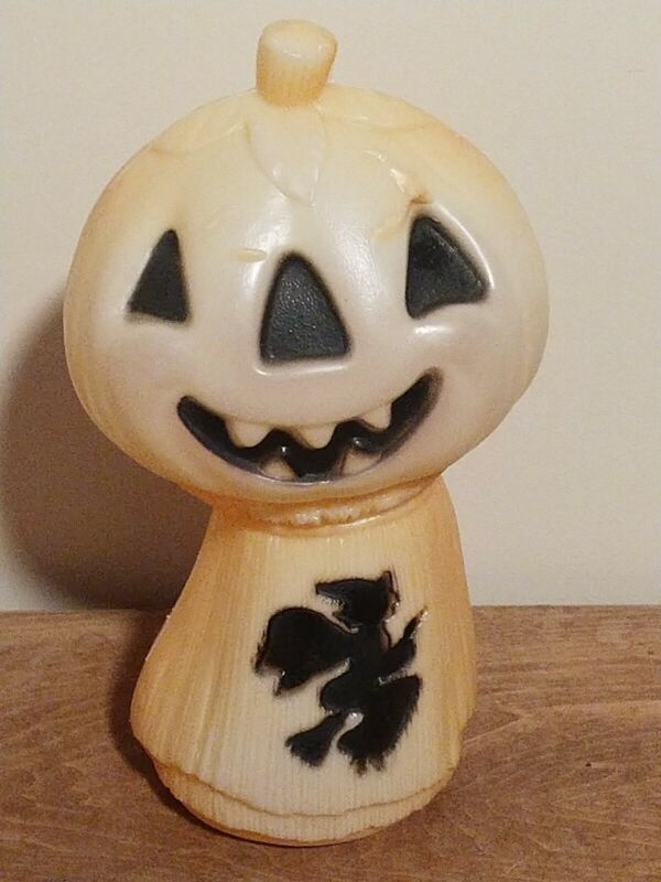 """Vintage Halloween Pumpkin Head Blow Mold with Witch on Haystack 14"""" Tall"""