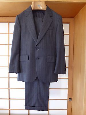 Alfred Dunhill Gray Striped  2 Buttons Suit Custom Made Small Made in Canada