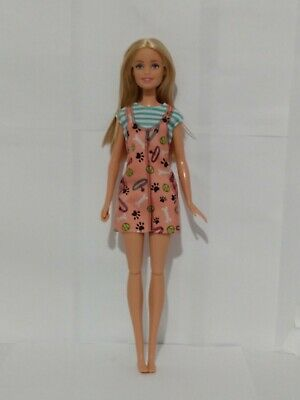 Mattel 2013 Barbie Doll Dog Walker Blond Hair Peach Dress Articulated Legs Girl