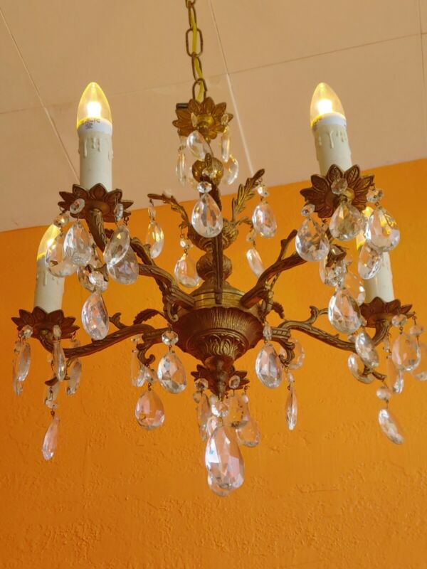 Antique Spanish Ornate Brass Chandelier 5 arms Lots of prisms
