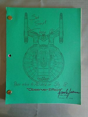 Star Trek Enterprise Stage Used Crew Script Observer Effect AD Stage 18