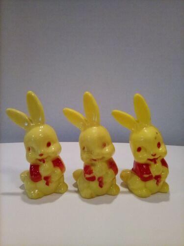Vintage Easter Hard Plastic Bunny Rattles  (Lot of 3)