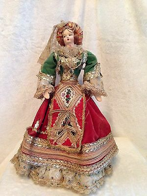 Antique European Mediterranean Greek Doll - Silk Cloth Face - 14.5