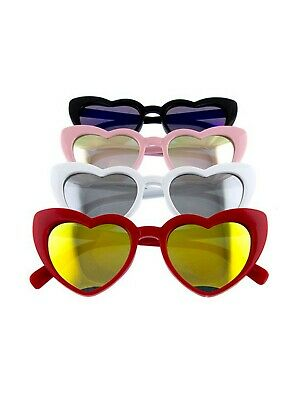Heart Shaped Tinted Sunglasses - Black, Red, Pink, White - Retro Shades -Hey (Red Heart Shaped Sunglasses)