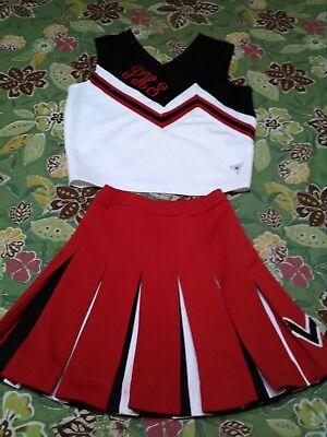 halloween costume 2 pc cheerleading outfit set skirt top red white black stripe  - Striped Skirt Halloween Costume