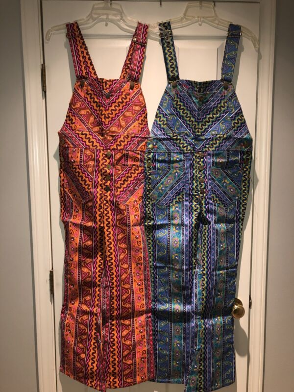 Vintage Fly's Multicolored Overalls NOS W Tags 70's Sz 16 Blues Or Sz 14 Pinks
