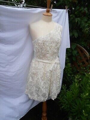 JILL STUART DESIGNER RUNWAY ONE SHOULDER DRAPED SILK Ivory  DRESS