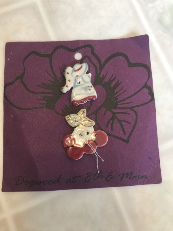 Dogwood Lane hand Painted Porcelain Buttons Cherries and Angel Buttons