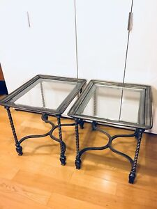 LARGE VINTAGE WROUGHT IRON & GLASS IMPERIAL ITALIAN COFFEE TABLE