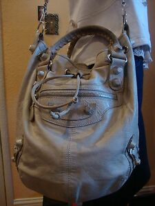 BEAUTIFUL BEIGE/GRAY BALENCIAGA POMPON  EXTRA LARGE BUCKET DRAWSTRING BAG  ITALY